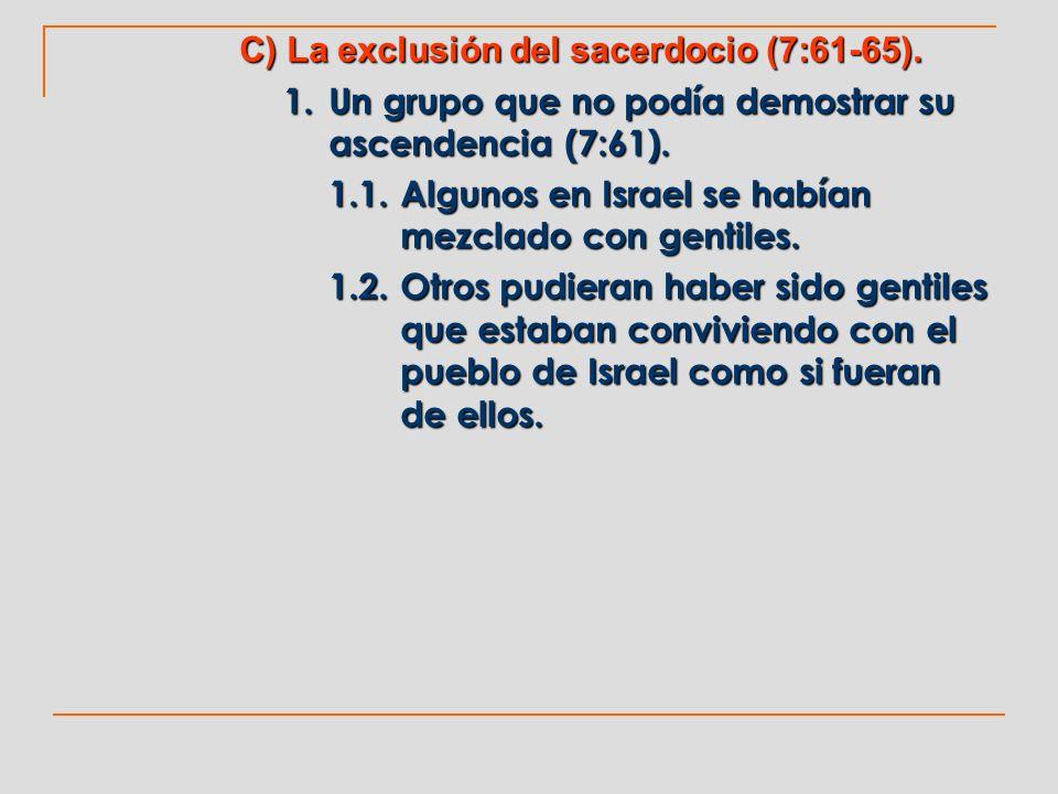 C) La exclusión del sacerdocio (7:61-65).