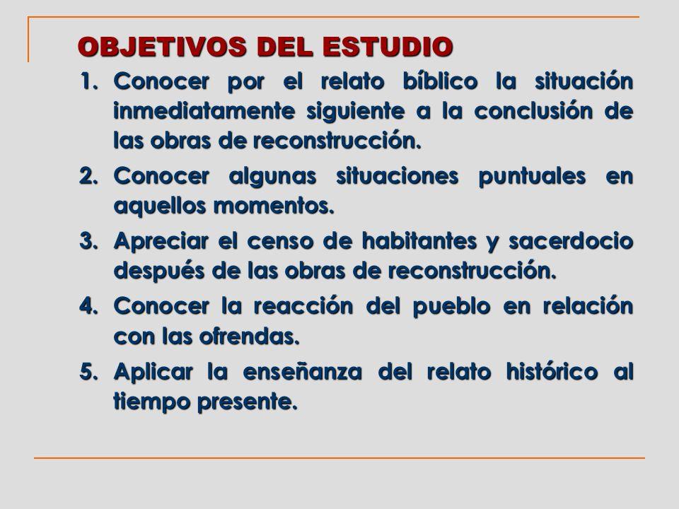 OBJETIVOS DEL ESTUDIO Conocer por el relato bíblico la situación inmediatamente siguiente a la conclusión de las obras de reconstrucción.
