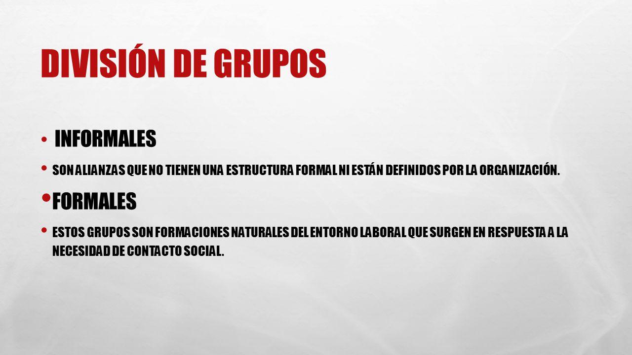 División de grupos Formales Informales