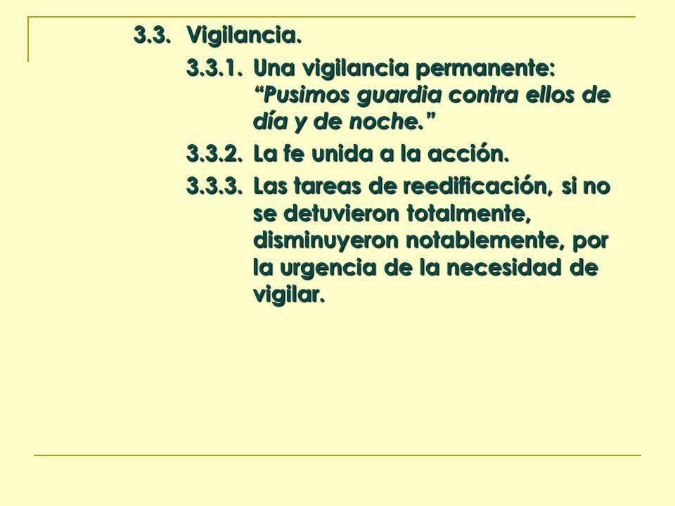 3.3. Vigilancia. 3.3.1. Una vigilancia permanente: Pusimos guardia contra ellos de día y de noche.