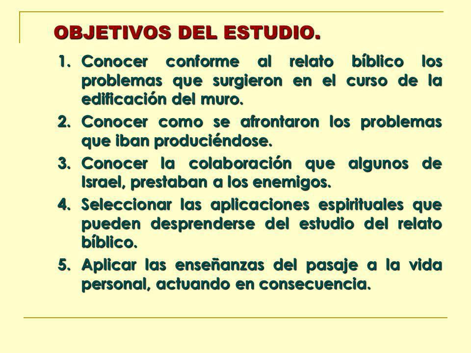 OBJETIVOS DEL ESTUDIO. Conocer conforme al relato bíblico los problemas que surgieron en el curso de la edificación del muro.