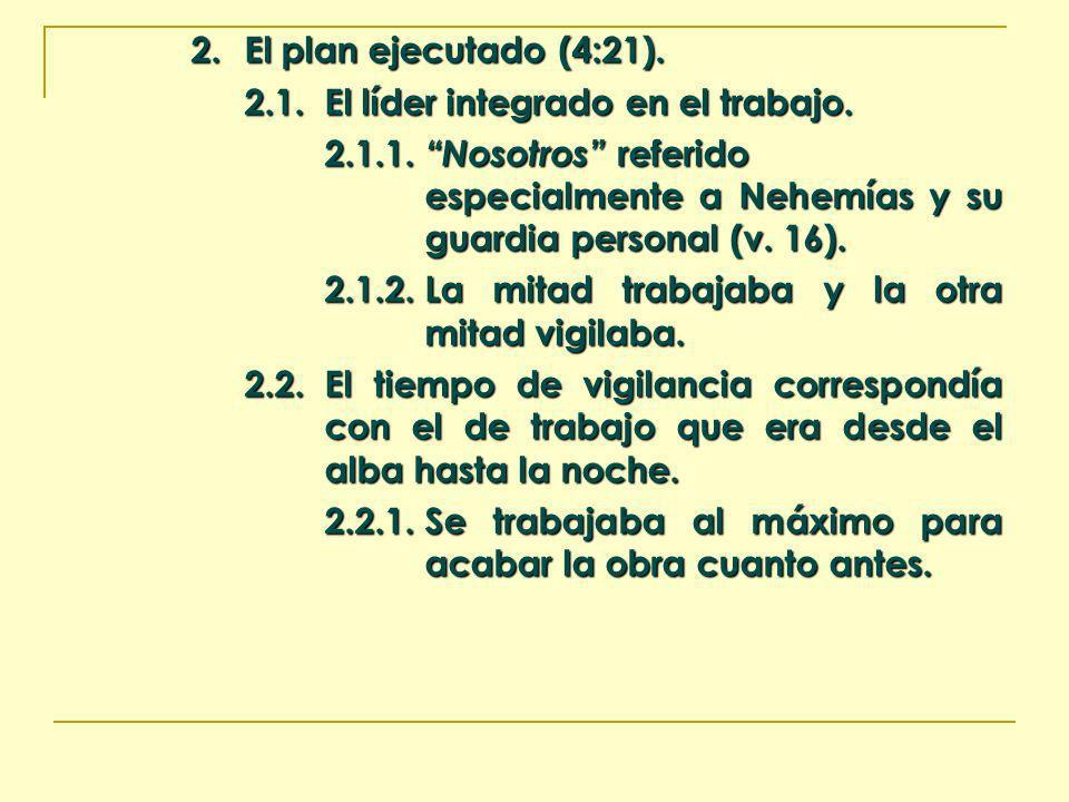 2. El plan ejecutado (4:21). 2.1. El líder integrado en el trabajo.