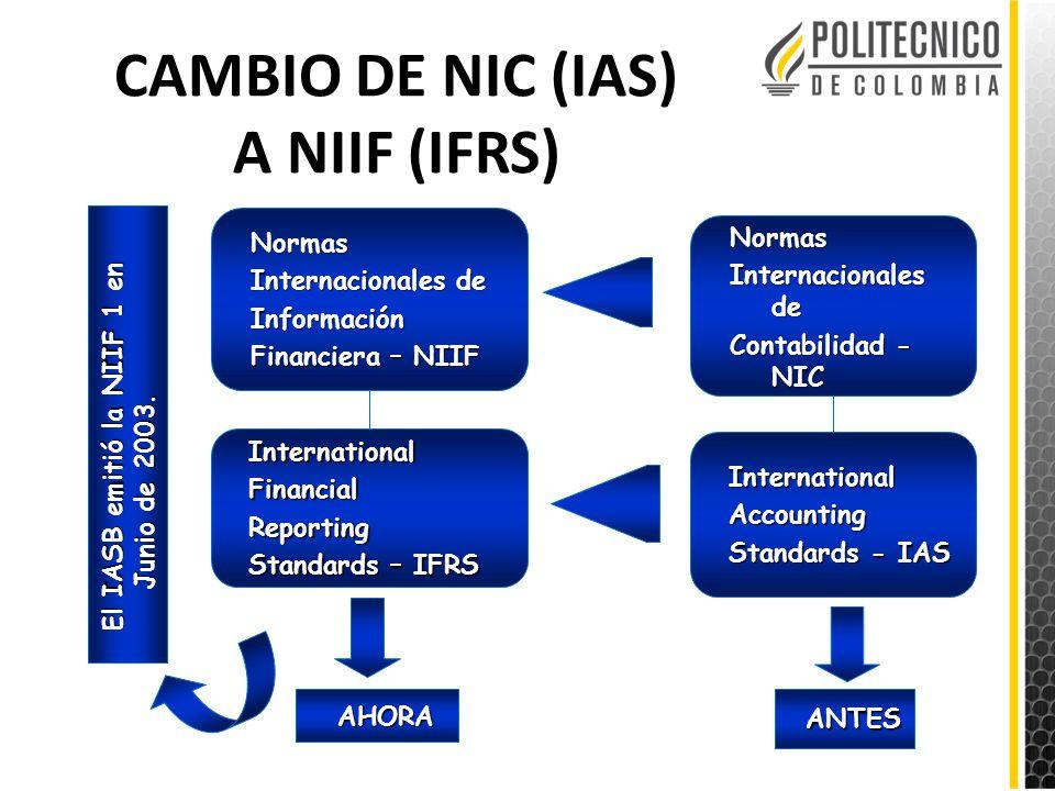 CAMBIO DE NIC (IAS) A NIIF (IFRS)