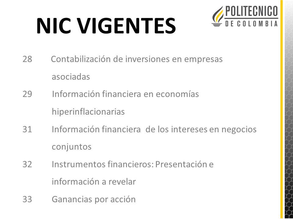 NIC VIGENTES 28 Contabilización de inversiones en empresas asociadas