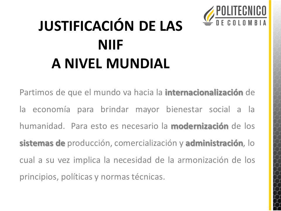 JUSTIFICACIÓN DE LAS NIIF