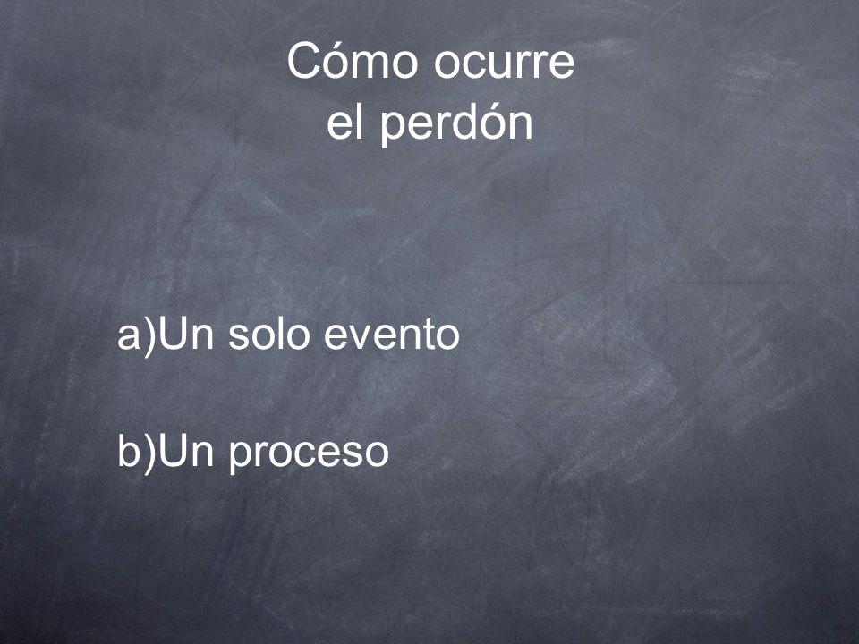 Cómo ocurre el perdón Un solo evento Un proceso