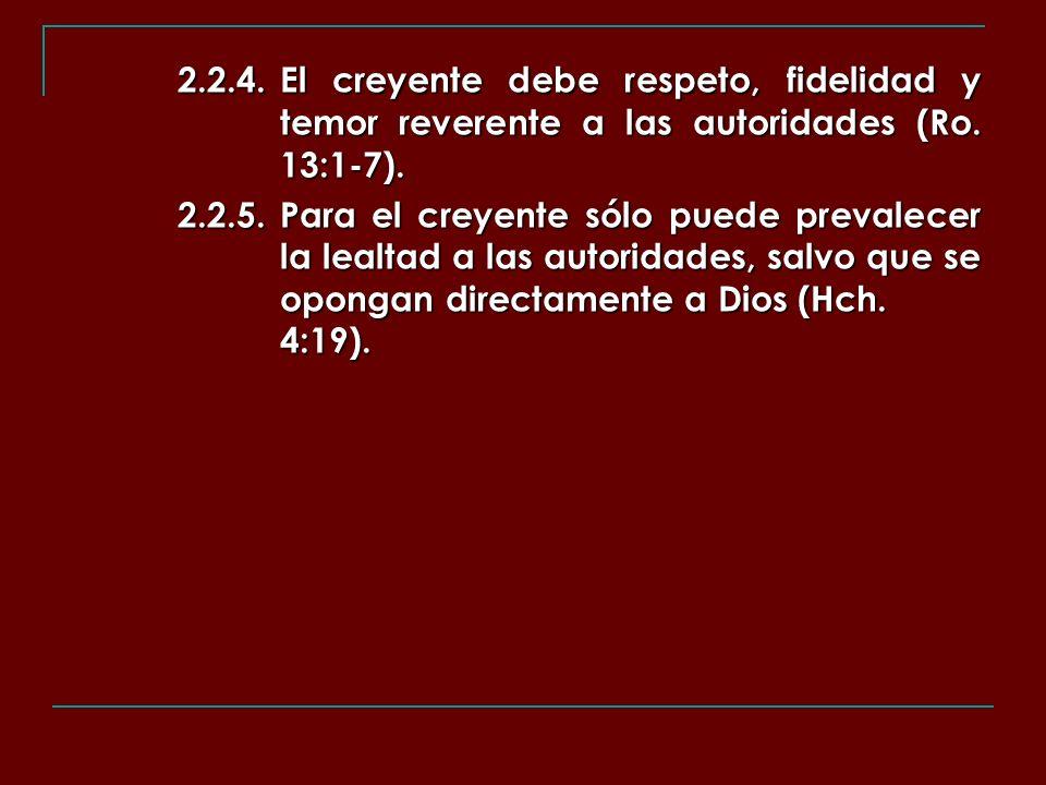 2. 2. 4. El creyente debe respeto, fidelidad y