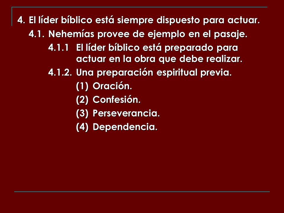 4. El líder bíblico está siempre dispuesto para actuar.