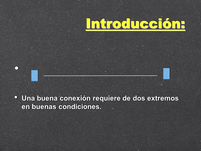Introducción: Una buena conexión requiere de dos extremos en buenas condiciones.
