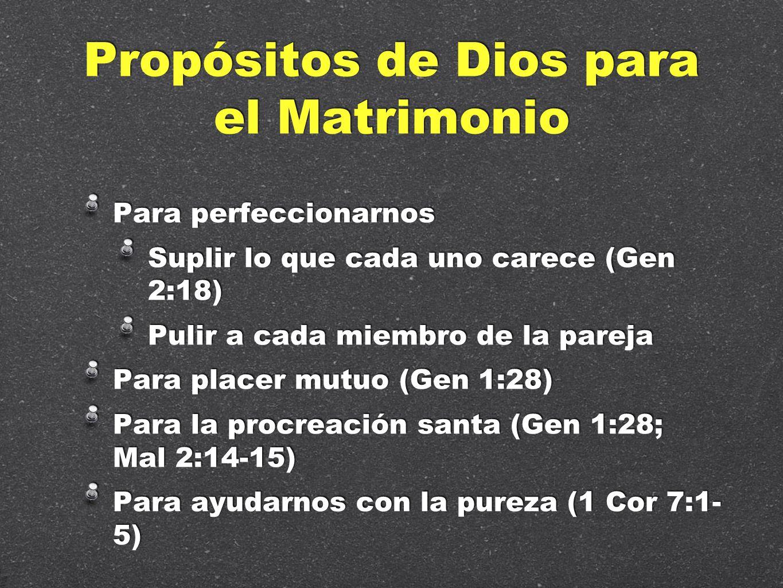 Propósitos de Dios para el Matrimonio