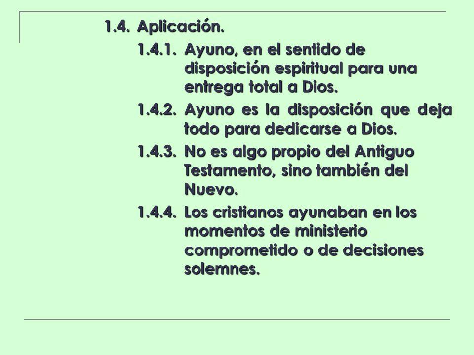 1.4. Aplicación. 1.4.1. Ayuno, en el sentido de disposición espiritual para una entrega total a Dios.