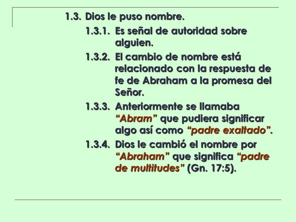 1.3. Dios le puso nombre. 1.3.1. Es señal de autoridad sobre alguien.
