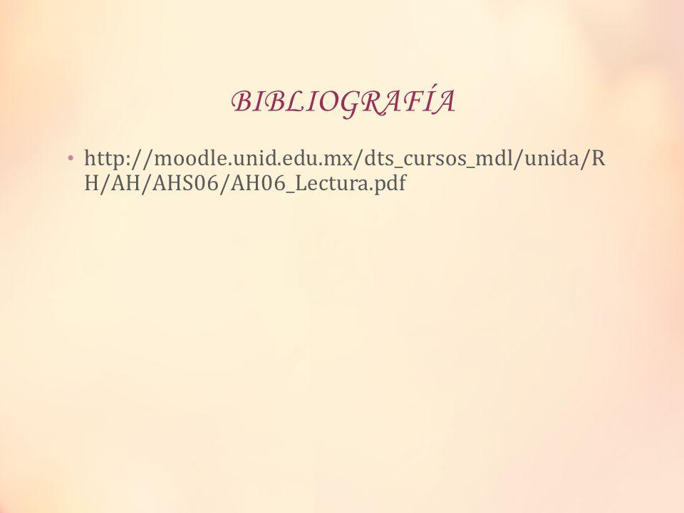 BIBLIOGRAFÍA http://moodle.unid.edu.mx/dts_cursos_mdl/unida/R H/AH/AHS06/AH06_Lectura.pdf