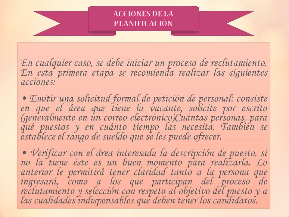 ACCIONES DE LA PLANIFICACIÒN