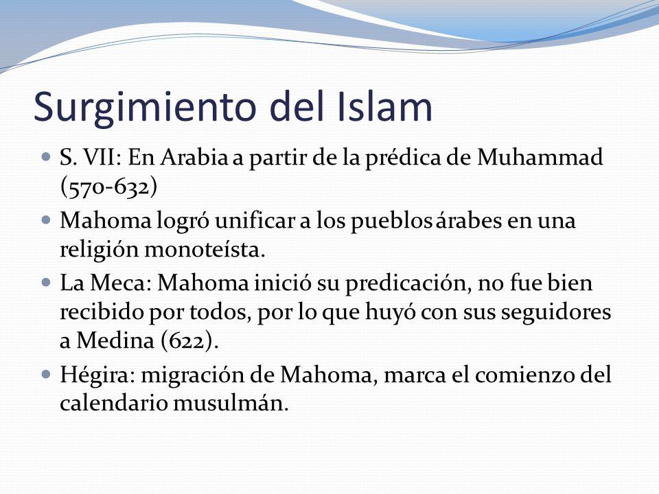 Surgimiento del Islam S. VII: En Arabia a partir de la prédica de Muhammad (570-632)