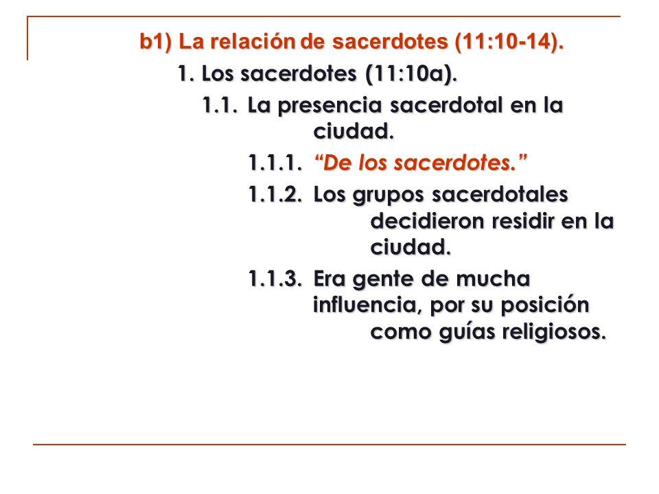 b1) La relación de sacerdotes (11:10-14).
