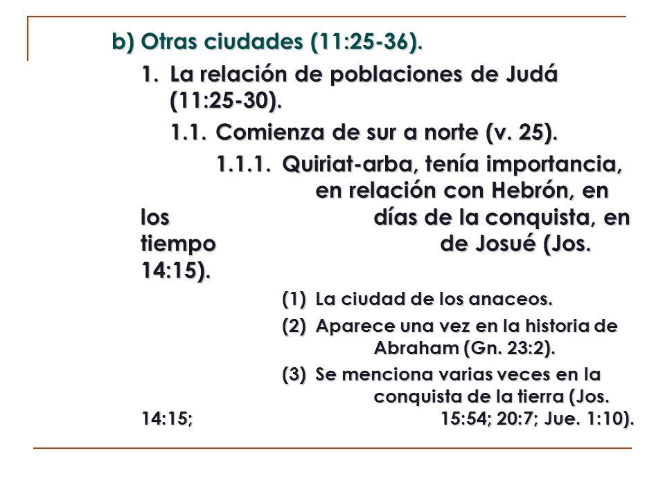 1. La relación de poblaciones de Judá (11:25-30).