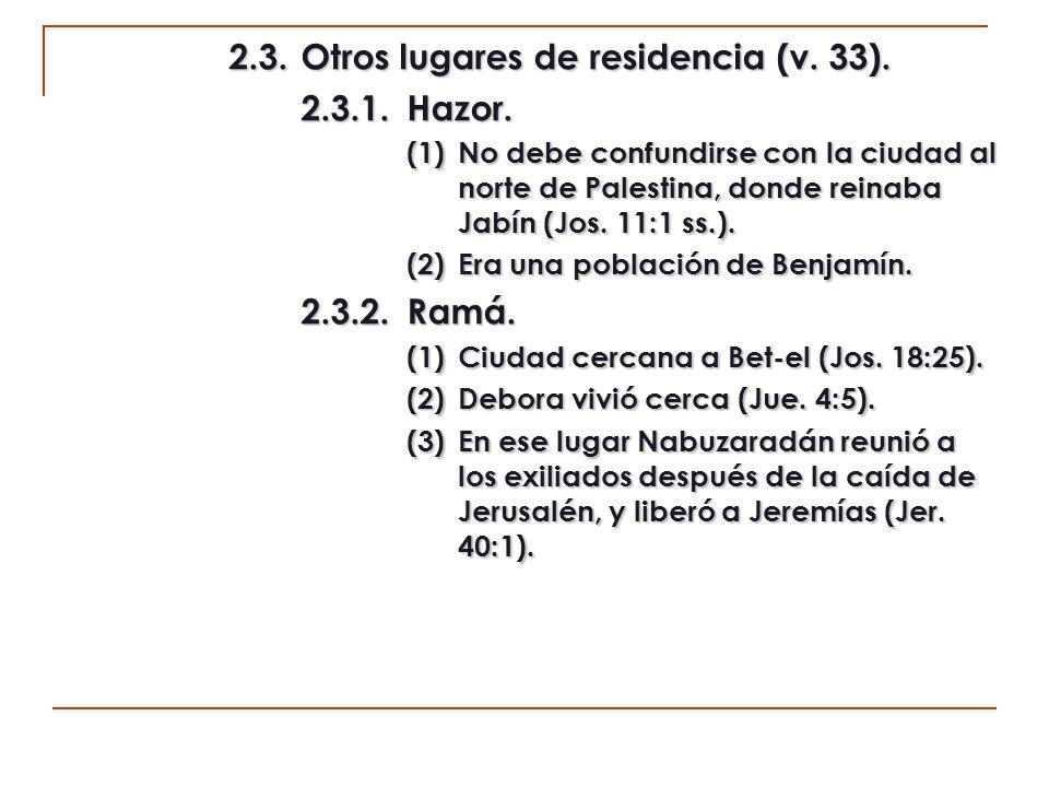 2.3. Otros lugares de residencia (v. 33). 2.3.1. Hazor.