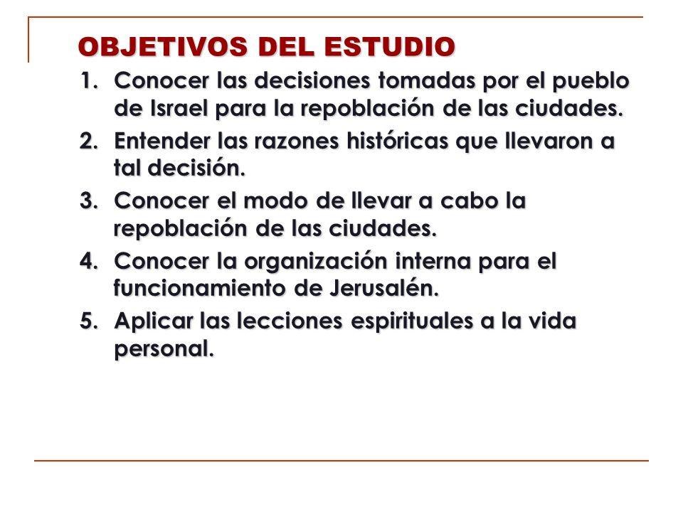 OBJETIVOS DEL ESTUDIO 1. Conocer las decisiones tomadas por el pueblo de Israel para la repoblación de las ciudades.