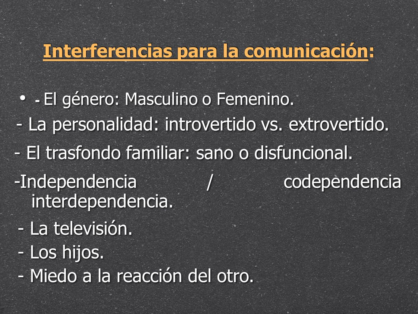 Interferencias para la comunicación: