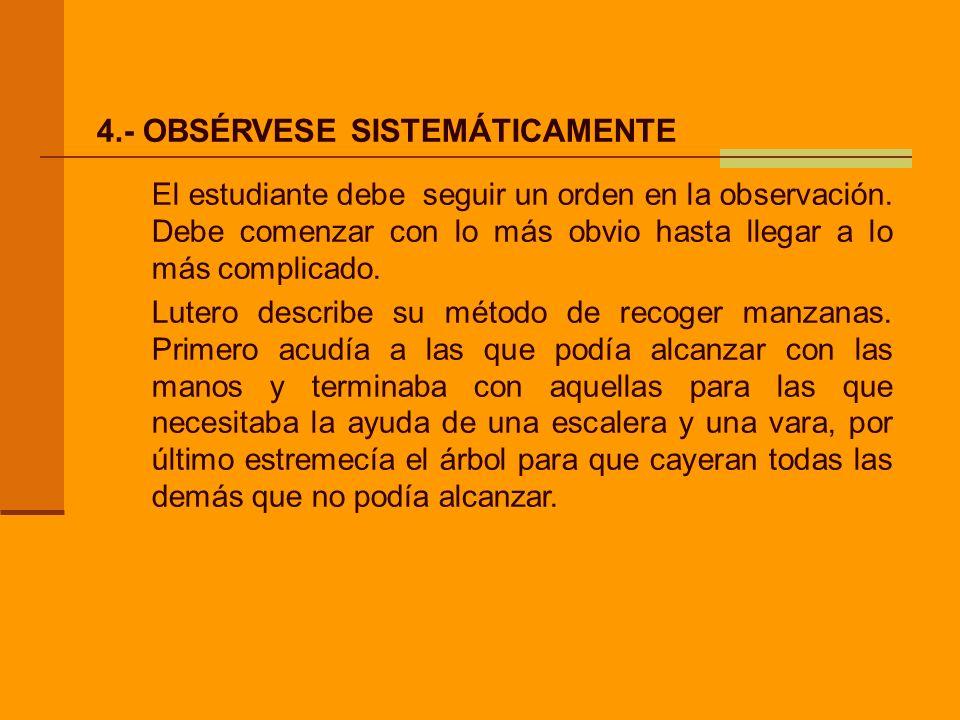 4.- OBSÉRVESE SISTEMÁTICAMENTE