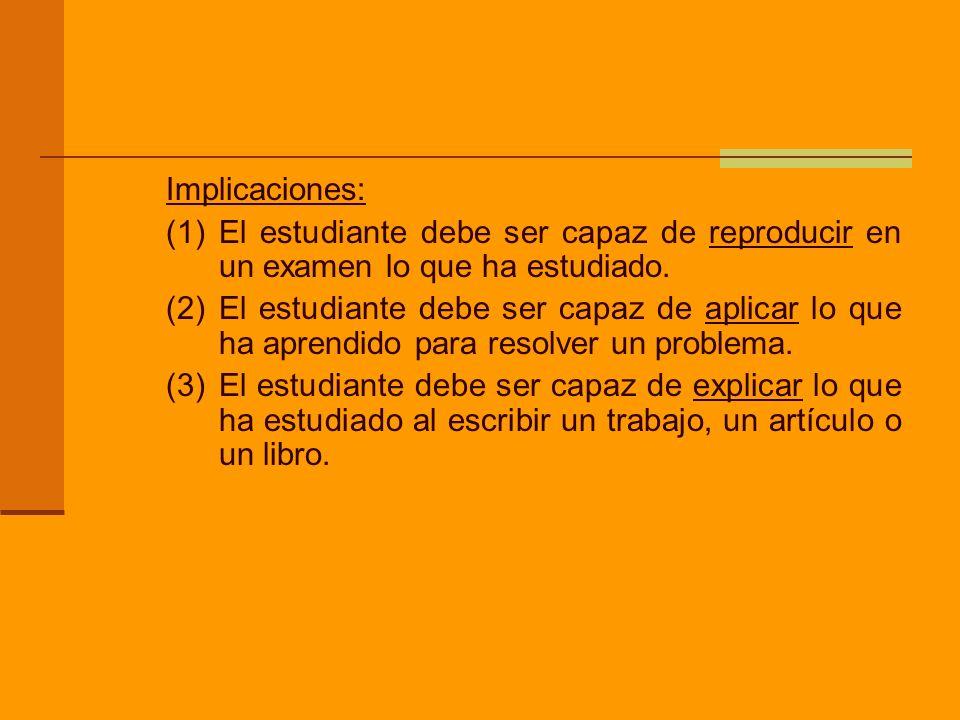 Implicaciones: (1) El estudiante debe ser capaz de reproducir en un examen lo que ha estudiado.