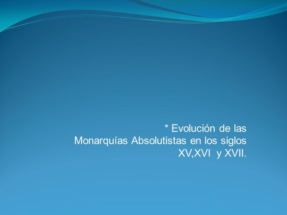 * Evolución de las Monarquías Absolutistas en los siglos XV,XVI y XVII.