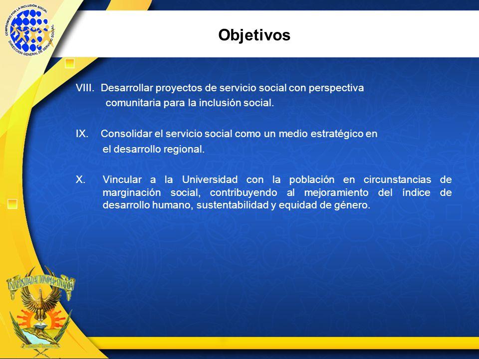 Objetivos VIII. Desarrollar proyectos de servicio social con perspectiva. comunitaria para la inclusión social.
