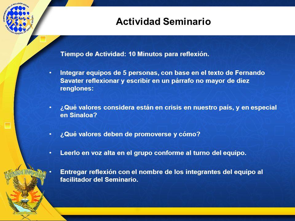 Actividad Seminario Tiempo de Actividad: 10 Minutos para reflexión.