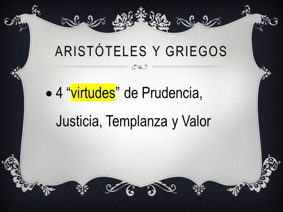 4 virtudes de Prudencia, Justicia, Templanza y Valor
