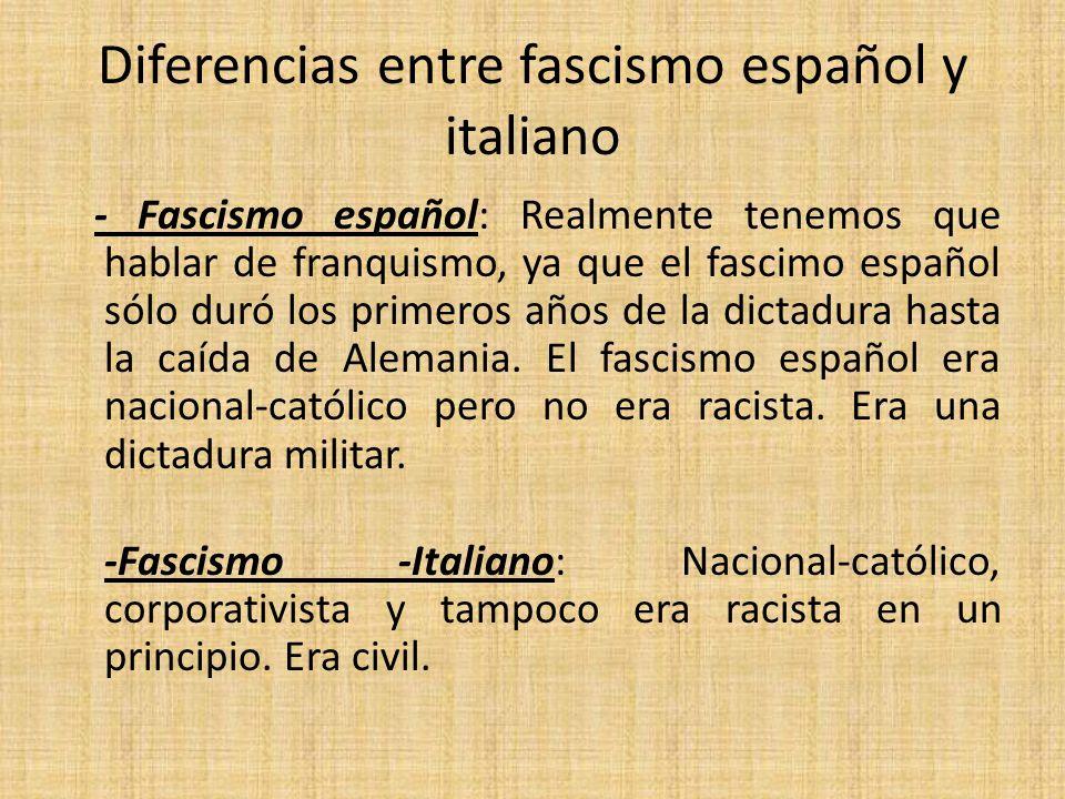 Diferencias entre fascismo español y italiano