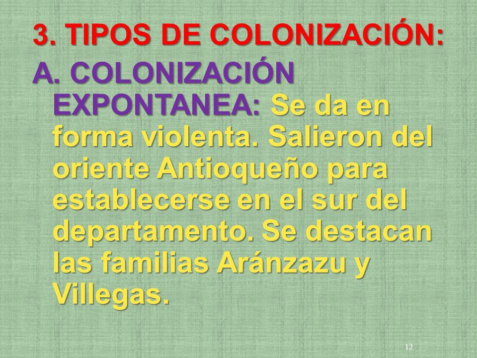 3. TIPOS DE COLONIZACIÓN: A