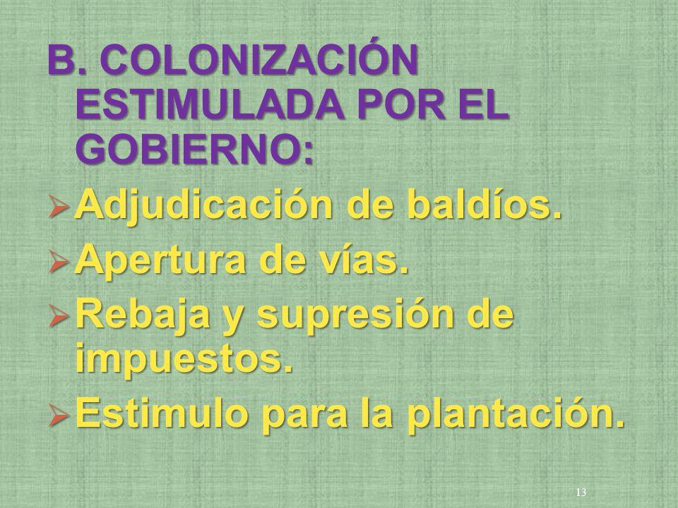 B. COLONIZACIÓN ESTIMULADA POR EL GOBIERNO: