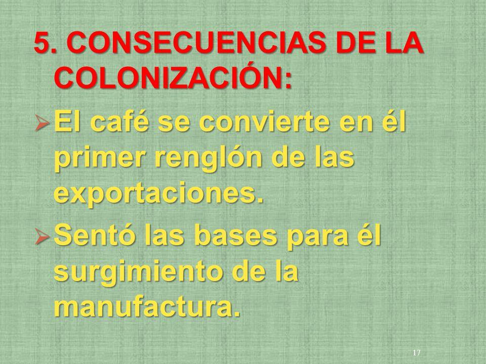 5. CONSECUENCIAS DE LA COLONIZACIÓN: