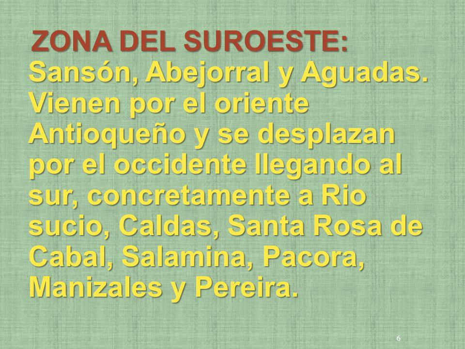 ZONA DEL SUROESTE: Sansón, Abejorral y Aguadas