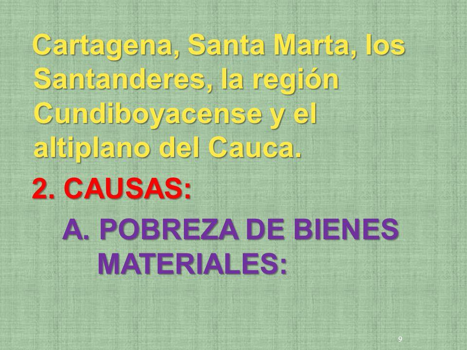 Cartagena, Santa Marta, los Santanderes, la región Cundiboyacense y el altiplano del Cauca.