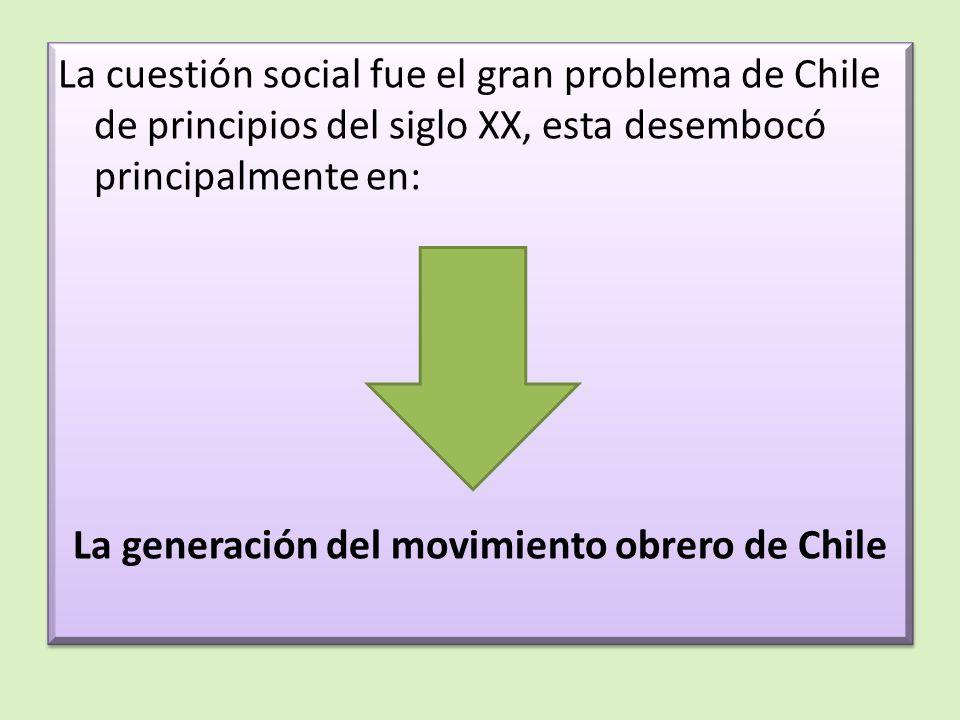 La cuestión social fue el gran problema de Chile de principios del siglo XX, esta desembocó principalmente en: La generación del movimiento obrero de Chile