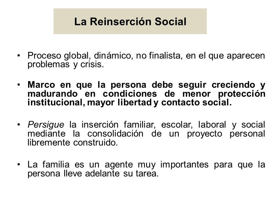 La Reinserción Social Proceso global, dinámico, no finalista, en el que aparecen problemas y crisis.