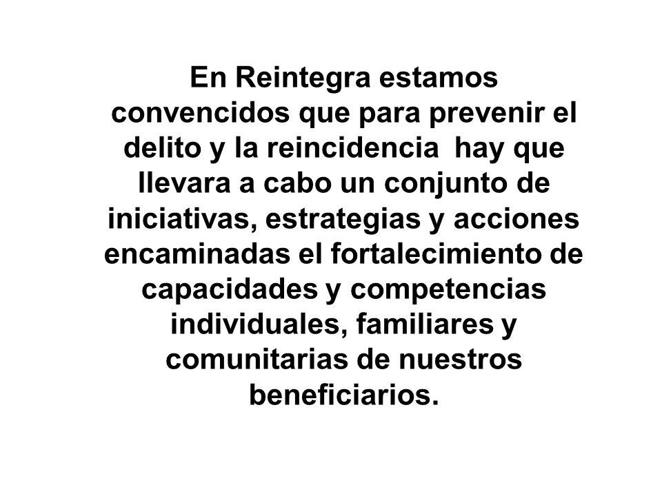 En Reintegra estamos convencidos que para prevenir el delito y la reincidencia hay que llevara a cabo un conjunto de iniciativas, estrategias y acciones encaminadas el fortalecimiento de capacidades y competencias individuales, familiares y comunitarias de nuestros beneficiarios.