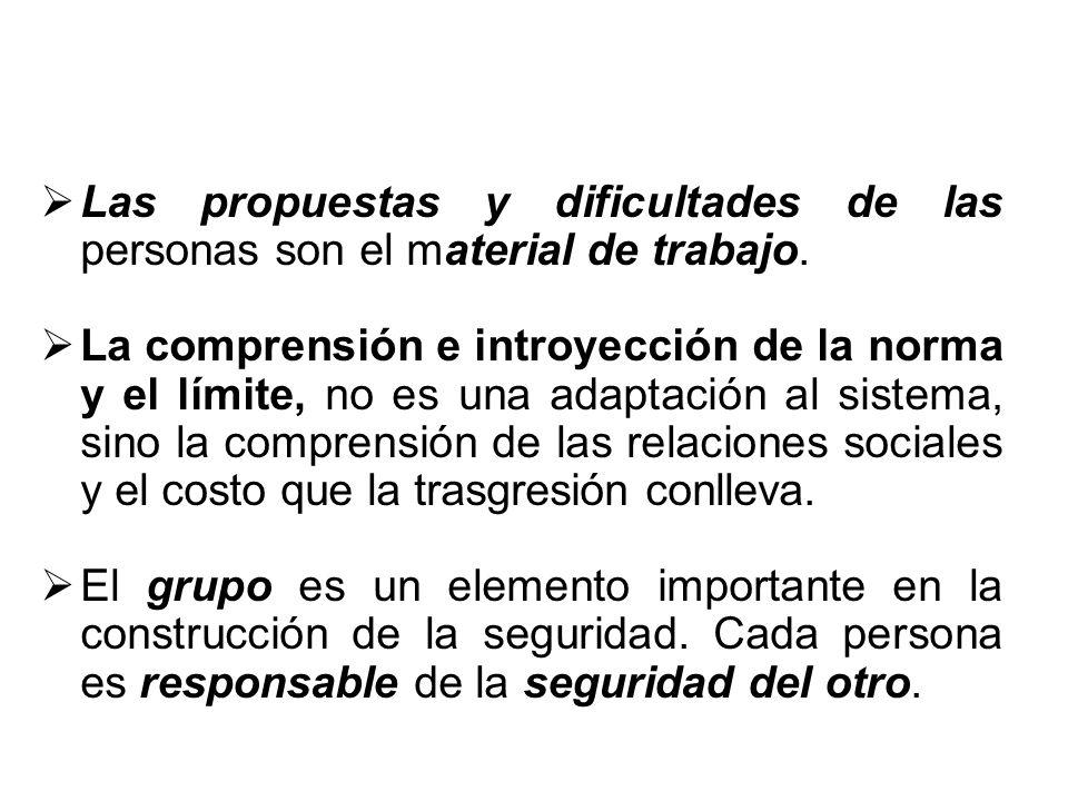 Las propuestas y dificultades de las personas son el material de trabajo.
