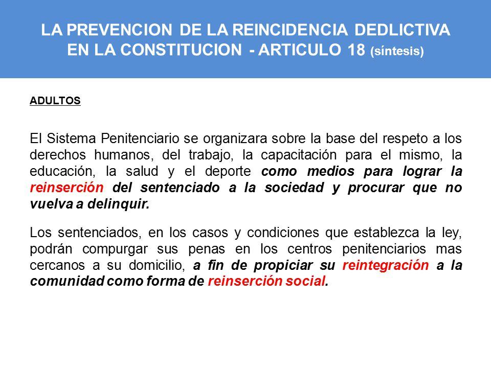 LA PREVENCION DE LA REINCIDENCIA DEDLICTIVA EN LA CONSTITUCION - ARTICULO 18 (síntesis)