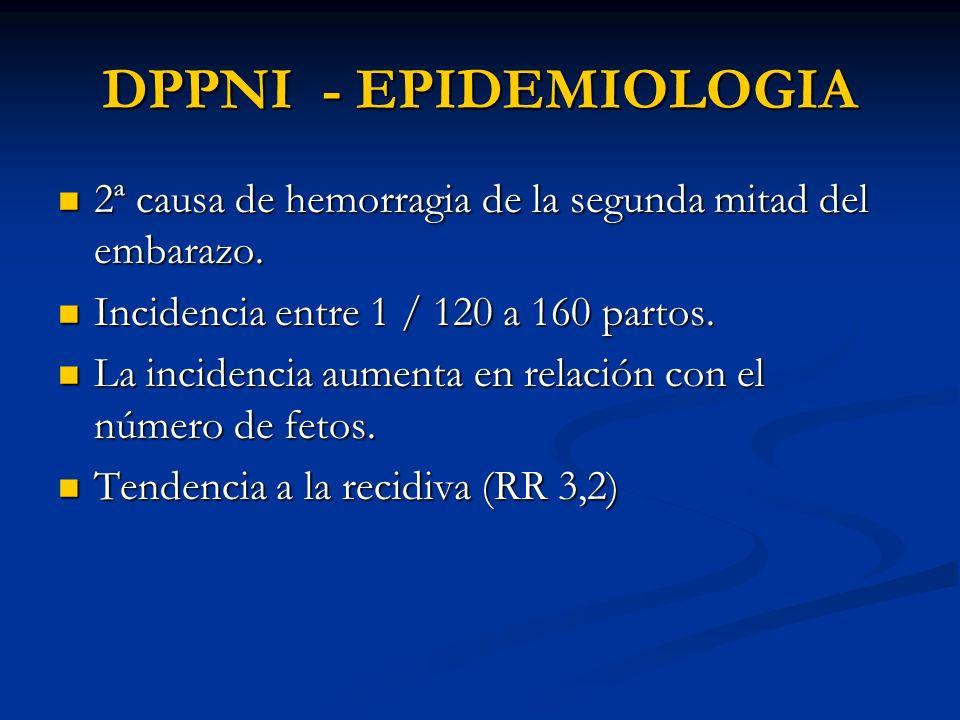 DPPNI - EPIDEMIOLOGIA 2ª causa de hemorragia de la segunda mitad del embarazo. Incidencia entre 1 / 120 a 160 partos.