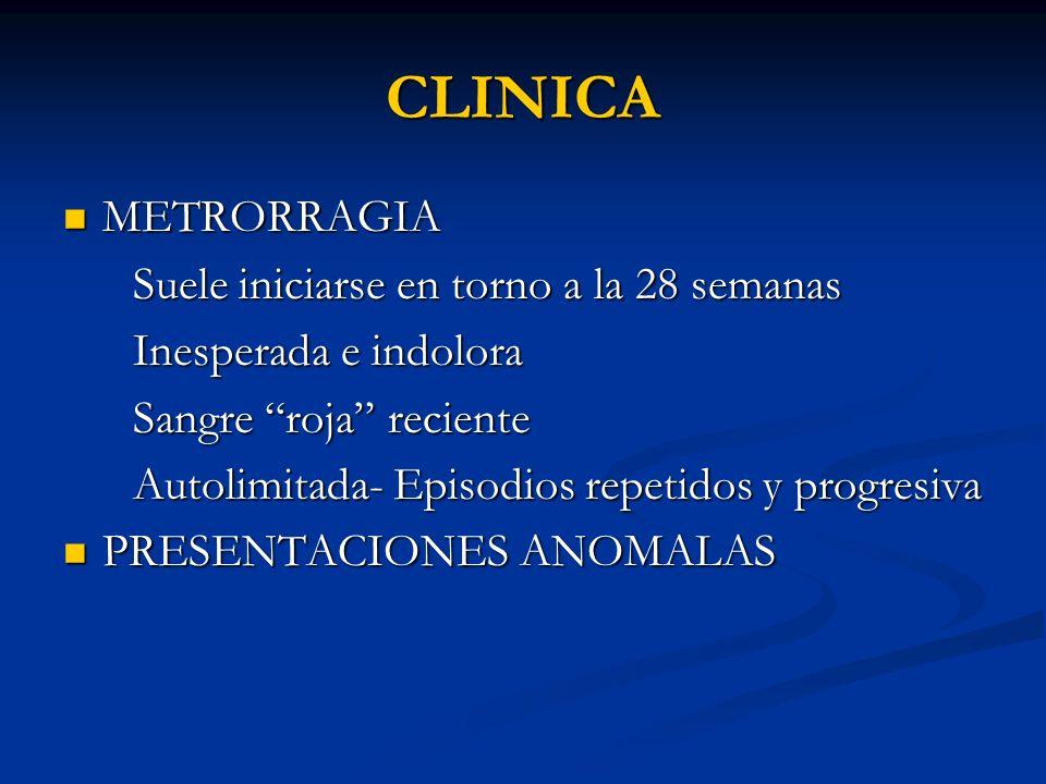 CLINICA METRORRAGIA Suele iniciarse en torno a la 28 semanas
