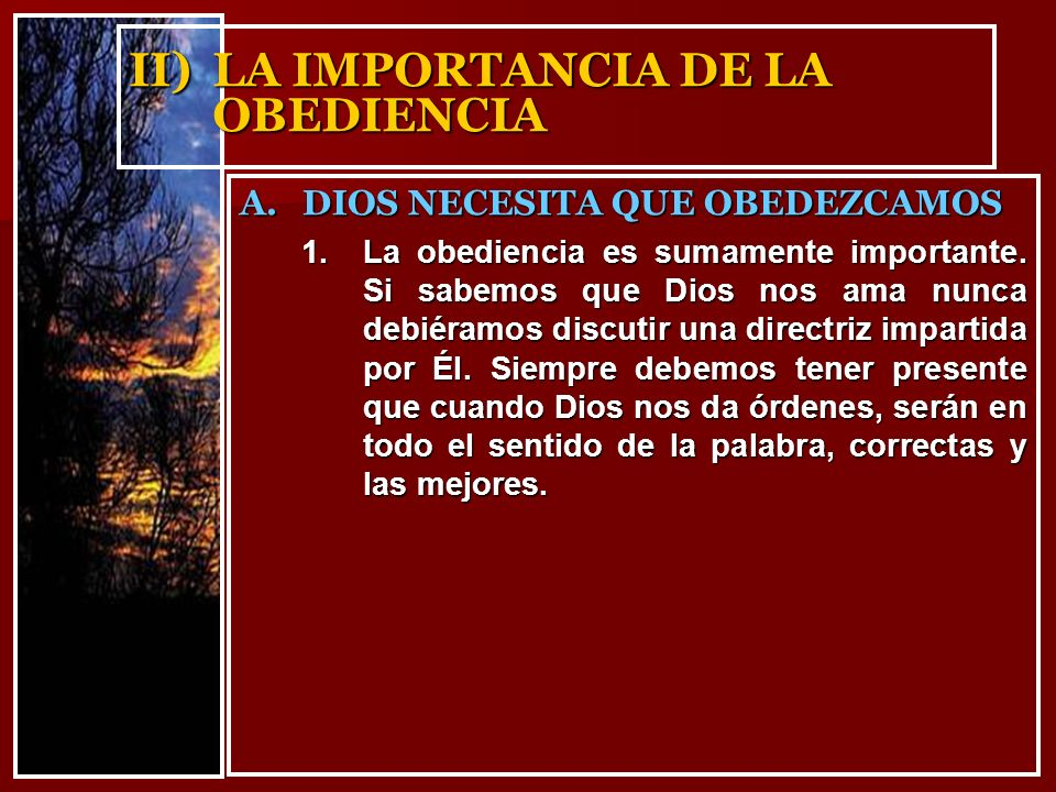 II) LA IMPORTANCIA DE LA OBEDIENCIA