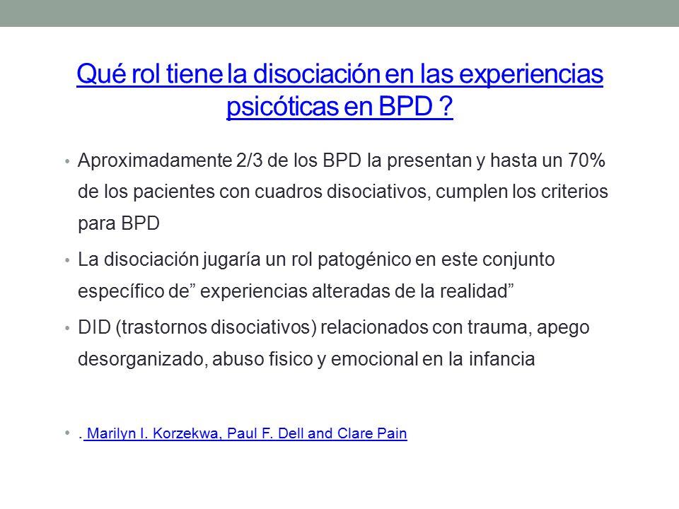 Qué rol tiene la disociación en las experiencias psicóticas en BPD