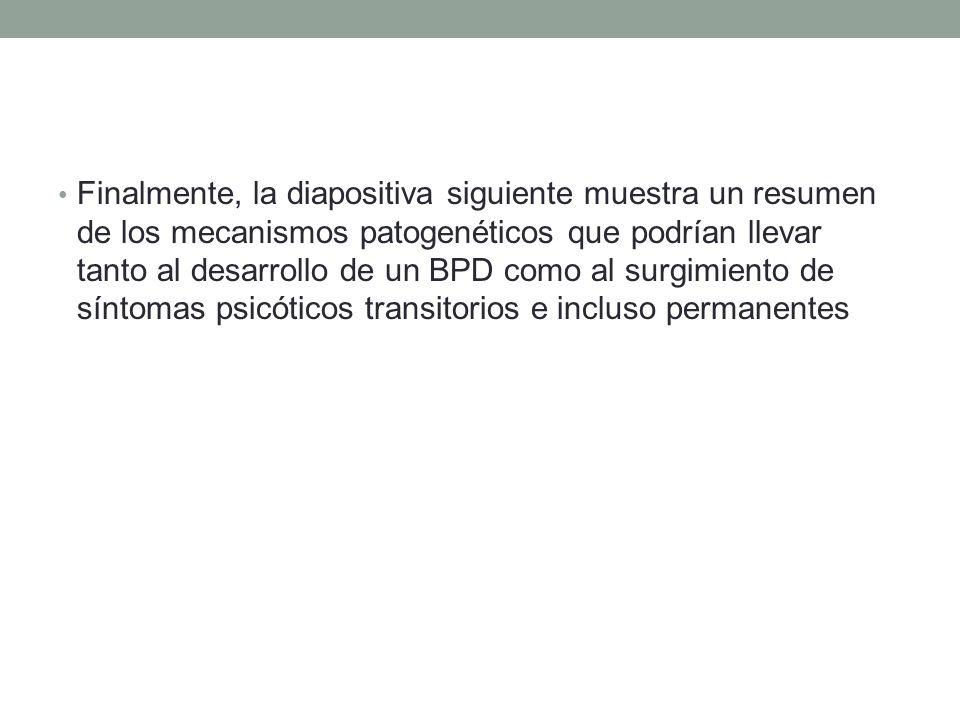Finalmente, la diapositiva siguiente muestra un resumen de los mecanismos patogenéticos que podrían llevar tanto al desarrollo de un BPD como al surgimiento de síntomas psicóticos transitorios e incluso permanentes