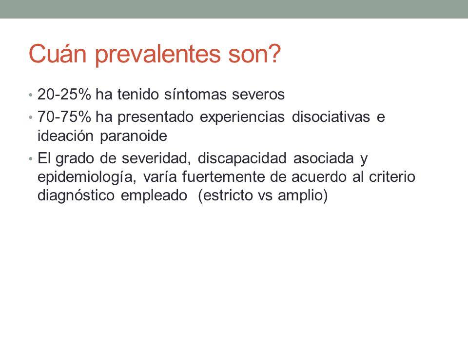 Cuán prevalentes son 20-25% ha tenido síntomas severos