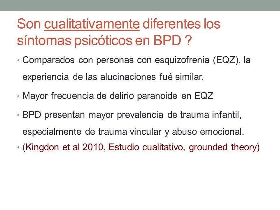 Son cualitativamente diferentes los síntomas psicóticos en BPD