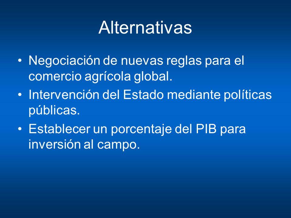Alternativas Negociación de nuevas reglas para el comercio agrícola global. Intervención del Estado mediante políticas públicas.