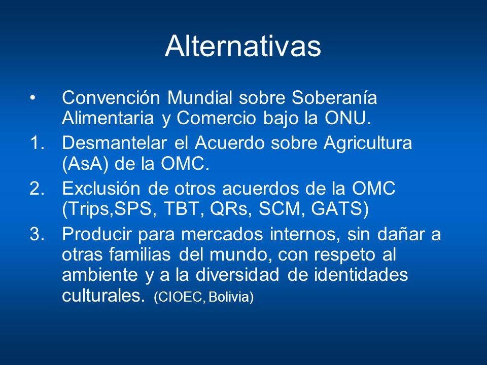 Alternativas Convención Mundial sobre Soberanía Alimentaria y Comercio bajo la ONU. Desmantelar el Acuerdo sobre Agricultura (AsA) de la OMC.